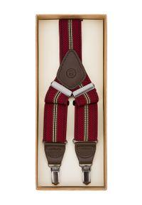 Lancerto - Szelki Czerwone w Pasy. Kolor: czerwony. Materiał: syntetyk, skóra, materiał, elastan