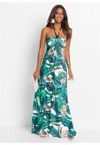 Długa letnia sukienka bonprix zielony w kwiaty. Kolor: zielony. Wzór: kwiaty. Sezon: lato. Długość: maxi