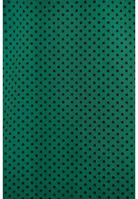 Marie Zélie - Sukienka Anastazja ciemnozielona w kropeczki. Kolor: zielony. Materiał: elastan, materiał, skóra, dzianina, bawełna. Typ sukienki: rozkloszowane. Styl: klasyczny