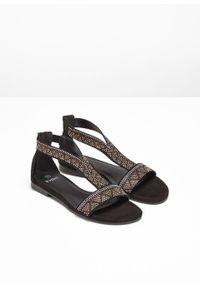 Czarne sandały bonprix z aplikacjami, na zamek