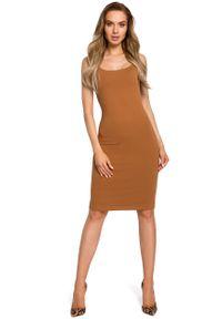 e-margeritka - Sukienka dopasowana na ramiączka karmel - xl. Okazja: na imprezę. Materiał: dresówka, bawełna, dzianina, materiał, elastan. Długość rękawa: na ramiączkach. Sezon: lato. Typ sukienki: ołówkowe. Styl: wakacyjny