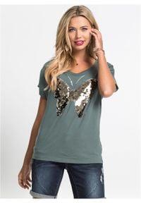 Shirt z cekinami bonprix zielony eukaliptusowy. Kolor: zielony. Wzór: aplikacja
