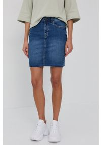 Noisy may - Noisy May - Spódnica jeansowa. Kolor: niebieski. Materiał: jeans