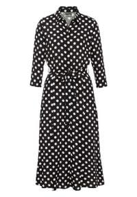 Sukienka midi w groszki bonprix czarno-biały w groszki. Typ kołnierza: kołnierzyk stójkowy. Kolor: czarny. Wzór: grochy. Styl: elegancki. Długość: midi