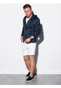 Ombre Clothing - Marynarka męska casual z kapturem M156 - granatowa - XXL. Okazja: na co dzień. Typ kołnierza: kaptur. Kolor: niebieski. Materiał: poliester, elastan. Styl: casual #3
