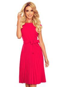 Numoco - Elegancka Sukienka z Plisowanym Dołem - Malinowa. Kolor: różowy. Materiał: poliester, elastan. Styl: elegancki