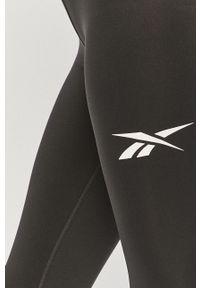 Czarne legginsy Reebok z podwyższonym stanem, gładkie