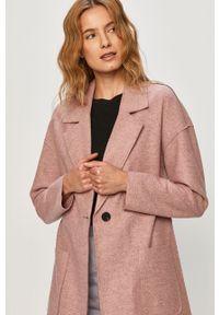 Różowy płaszcz only na co dzień, casualowy, bez kaptura
