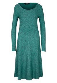 Niebieska sukienka bonprix melanż, z długim rękawem