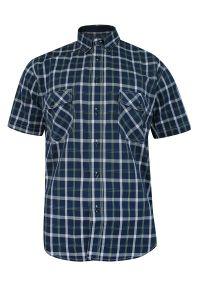 ForMax - Koszula Bawełniana Granatowo-Biała z Krótkim Rękawem, z Kieszonkami, Casualowa w Kratkę Slim -FORMAX. Okazja: na co dzień. Kolor: niebieski. Materiał: bawełna. Długość rękawa: krótki rękaw. Długość: krótkie. Wzór: kratka. Styl: casual
