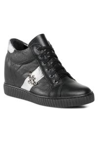 Czarne buty sportowe R.Polański z cholewką, na średnim obcasie, na koturnie