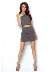 IVON - Grafitowa Asymetryczna Mini Spódnica na Gumie. Kolor: szary. Materiał: guma