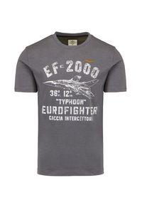 T-shirt Aeronautica Militare casualowy, na co dzień, z nadrukiem, z krótkim rękawem