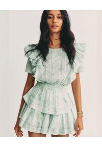 LOVE SHACK FANCY - Sukienka mini Natasha. Kolor: zielony. Materiał: bawełna. Wzór: aplikacja. Długość: mini