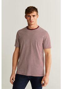 Brązowy t-shirt Mango Man casualowy, na co dzień