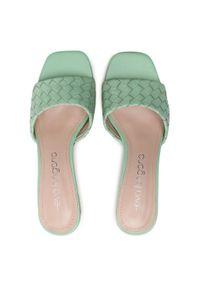 Zielone klapki Eva Longoria eleganckie, na obcasie, na średnim obcasie