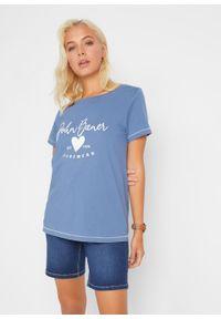 T-shirt bonprix niebieski dżins z nadrukiem. Okazja: na co dzień. Kolor: niebieski. Wzór: nadruk. Styl: casual