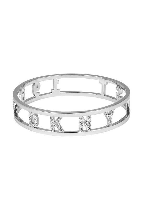 Srebrna bransoletka DKNY metalowa, z aplikacjami, z kryształem