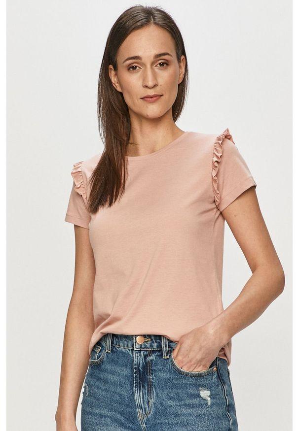 Różowa bluzka Vila casualowa, na co dzień, gładkie