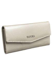 Podłużny portfel damski beżowy Badura B-43877P-SBR. Kolor: beżowy. Materiał: skóra. Wzór: aplikacja