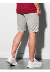 Ombre Clothing - Krótkie spodenki męskie dresowe W294 - jasnoszare - XXL. Kolor: niebieski. Materiał: dresówka. Długość: krótkie. Styl: sportowy, klasyczny #3