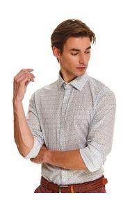 Biała koszula TOP SECRET w kolorowe wzory, elegancka, na co dzień, z klasycznym kołnierzykiem