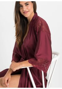 Szlafrok kimono satynowy bonprix czerwony rubinowy