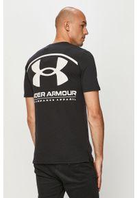 Czarny t-shirt Under Armour casualowy, na co dzień, z nadrukiem