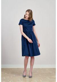 Marie Zélie - Sukienka Melania bawełna z elastanem granatowa. Kolor: niebieski. Materiał: elastan, bawełna. Długość rękawa: krótki rękaw