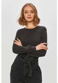 Czarna bluzka z długim rękawem only casualowa, na co dzień