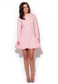 Różowa sukienka Katrus casualowa, z długim rękawem, prosta, ze stójką