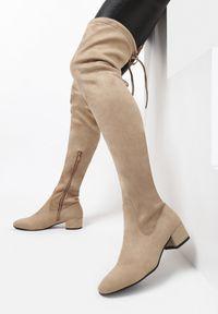 Born2be - Beżowe Kozaki Decorous. Wysokość cholewki: przed kolano. Zapięcie: zamek. Kolor: beżowy. Materiał: jeans, skóra, materiał. Szerokość cholewki: normalna. Obcas: na obcasie. Styl: elegancki. Wysokość obcasa: niski