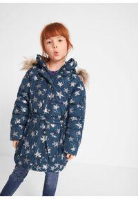 Niebieski płaszcz bonprix z kapturem, z aplikacjami, na zimę #6