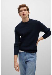 Niebieski sweter Mango Man długi, gładki, z długim rękawem