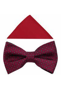Czerwona muszka elegancka, w geometryczne wzory