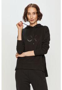 Czarna bluza Calvin Klein z nadrukiem, na co dzień, z kapturem