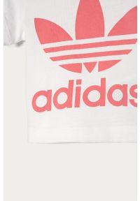 Biała bluzka z krótkim rękawem adidas Originals na co dzień, krótka, z nadrukiem, casualowa