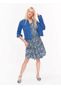 Niebieska kurtka TOP SECRET w kolorowe wzory, na co dzień, krótka, casualowa