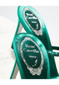 RENE CAOVILLA - Zielone sandały na szpilce Bessie. Zapięcie: pasek. Kolor: zielony. Materiał: jedwab, satyna. Wzór: paski, aplikacja. Obcas: na szpilce. Wysokość obcasa: średni #6