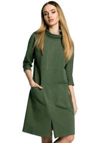 MOE - Prosta sukienka oversize z dużymi kieszeniami. Okazja: do pracy, na co dzień, na spacer. Materiał: dresówka, bawełna, dzianina, materiał, elastan. Typ sukienki: proste, oversize. Styl: casual