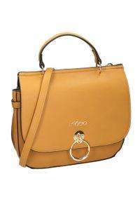 Nobo - Torebka damska listonoszka żółta NOBO NBAG-J1300-C002. Kolor: żółty. Materiał: skórzane. Rodzaj torebki: na ramię