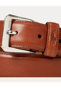 Ralph Lauren - RALPH LAUREN - Brązowy pasek ze skóry. Kolor: brązowy. Materiał: skóra. Wzór: napisy
