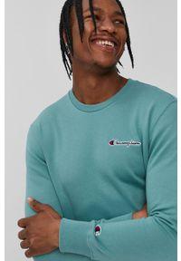Champion - Bluza 214781. Okazja: na co dzień. Kolor: zielony. Materiał: dzianina. Wzór: aplikacja. Styl: casual