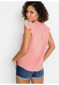 Bluzka bez rękawów, z falbaną bonprix pastelowy jasnoróżowy. Kolor: różowy. Długość rękawa: bez rękawów