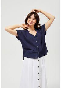 Niebieska koszula MOODO bez kołnierzyka, z krótkim rękawem, krótka