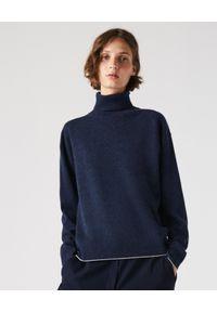 Lacoste - LACOSTE - Granatowy sweter z wełny z logo. Typ kołnierza: golf. Kolor: niebieski. Materiał: wełna. Wzór: haft. Styl: klasyczny
