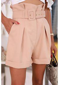 Beżowe spodnie IVET z podwyższonym stanem, eleganckie