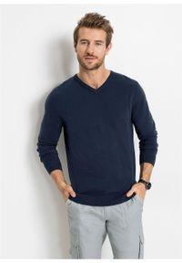 Niebieski sweter bonprix z dekoltem w serek, klasyczny