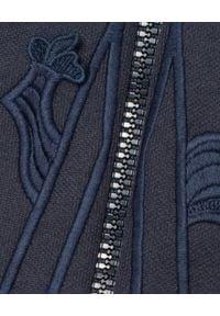 MONCLER - Granatowa bluza z logo. Kolor: niebieski. Materiał: bawełna. Wzór: paski, gładki, haft
