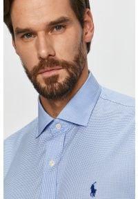 Niebieska koszula Polo Ralph Lauren elegancka, z aplikacjami, długa